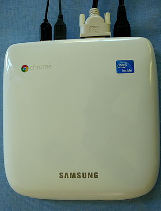Thin client - A connected Samsung Chromebox as seen from above