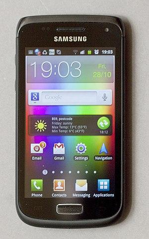 Samsung Galaxy W - Samsung Galaxy W I8150 displaying the 'homescreen' of TouchWiz 4.0.
