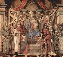 Madonna enthroned with child, four angels, and saints