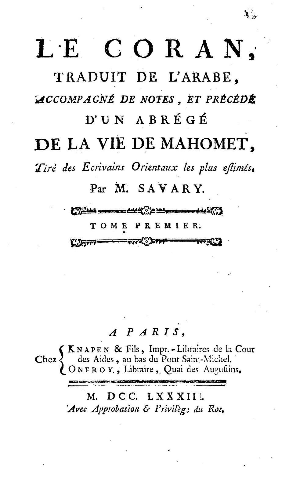 Savary Coran 1783 page titre