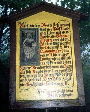 Ludovingians - Information board at the ruins of the Ludovingian family castle, the Schauenburg near Friedrichroda