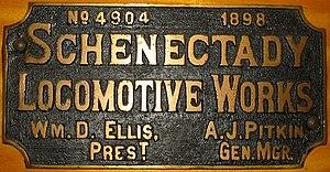 Schenectady Locomotive Works - Image: Schenectady builder's plate
