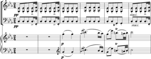Instrumentation (music) - Schubert Trio in E flat, second movement, bars 21-26