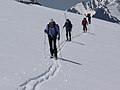 Scientists skiing to Sperry Glacier to conduct measurements (4427590897).jpg