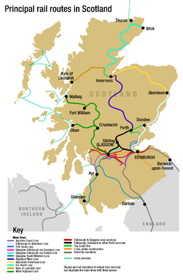 A map of the principal rail lines of Scotland