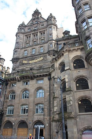 The Scotsman - Scotsman Buildings as seen from Market Street
