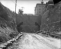 Second Street tunnel construction site before boring of the tunnel in Los Angeles, Calif., 1921.jpg