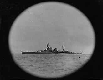 HMS Repulse (1916) - Repulse during the early 1920s. Photographed through a porthole.