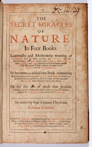 Levinus Lemnius - The Secret Miracles of Nature, title page from 1658 of the edition published by John Streater.