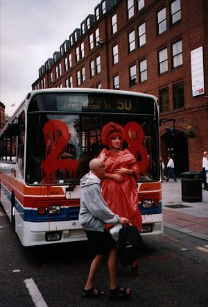 Keep the Clause campaign - Section 28 protestor with a Stagecoach Manchester bus in July 2000