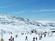 A Portuguese ski resort during the winter season in Serra da Estrela mountain range, Centro.