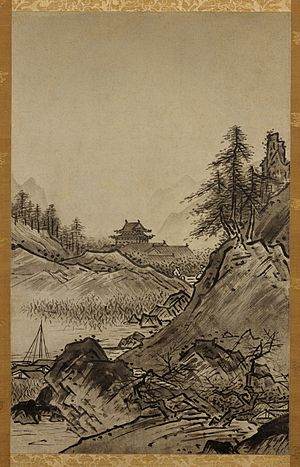 Ink wash painting - Autumn Landscape (Shūkei-sansui). Sesshū Tōyō (1420-1506), Japanese