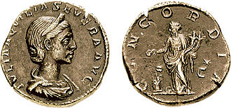 Concordia (mythology) - Concordia, standing with a patera and two cornucopiae, on the reverse of this coin  of Aquilia Severa.