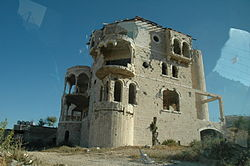 Shelled building in Palestinian Authority territories.jpg