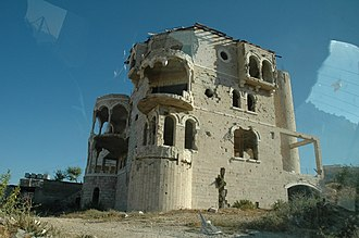 United Nations Security Council Resolution 1397 - Shelled building in the Palestinian Authority territories