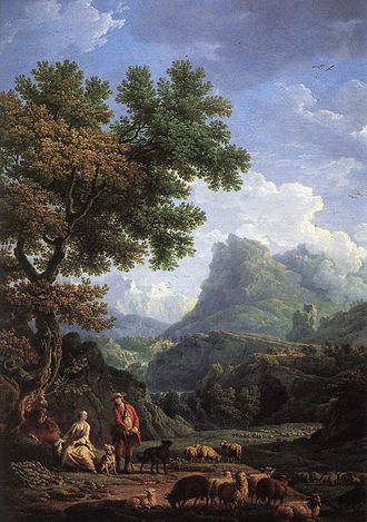 A Vindication of the Rights of Men - Shepherd in the Alps by Claude Joseph Vernet; an idyllic rural life is part of the political utopia Wollstonecraft depicts in the Rights of Men.