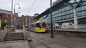 Shudehill Interchange - Tram approaching the Metrolink part of the Interchange from the north.