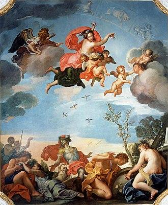 Baroque in Poland - Plafond Allegory of Spring by Jerzy Siemiginowski-Eleuter, 1680s
