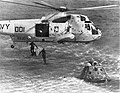 Sikorsky SH-3G Sea King of HC-1 drops swimmers of UDT-11 near the Apollo 17 command module, 19 December 1972.jpg