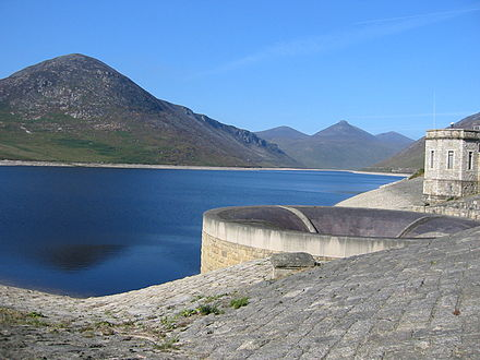Silent Valley Reservoir, showing the brick-built overflow SilentValley.jpg