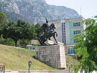 Statue of Skanderbeg, in Krujë, Albania.