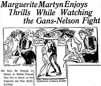 Joe Gans - A four-reel motion picture of the second Gans-Nelson fight in Colma, California, was shown in theaters across the country. Above, reporter-artist Marguerite Martyn sketched her impression of women watching the film in St. Louis, Missouri, in October 1908.