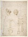 Sketches of a Funeral Monument, a Niche with Statues, a Helmet in the Shape of a Human Head, an Entablature and a Female Statue MET DP810674.jpg
