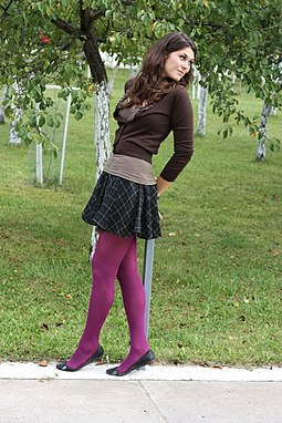 A woman wearing tights under a skirt Skirt and tights.jpg