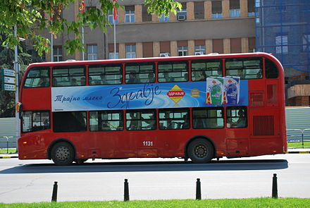 A red double-decker bus in Skopje. Skopje X32.JPG