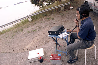 Portable operation (amateur radio) - Kamal Edirisinghe, 4S7AB, from Sri Lanka, operating a portable amateur radio station south of Stockholm, Sweden