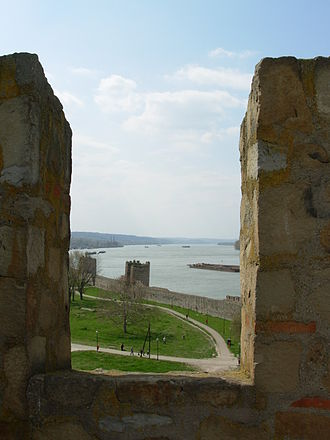 Smederevo Fortress - A view to the northern wall and Danube.