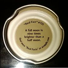 Inside of Snapple cap features factoid