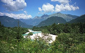Battle of Caporetto - The Isonzo river, location of the initial attacks at Kobarid (Caporetto).