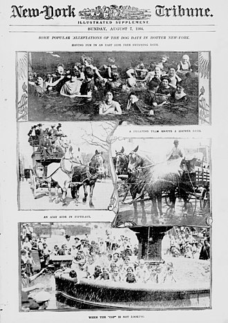 """Dog days - """"Some Popular Alleviations of the Dog Days in Hotter New-York"""" in 1904, including children piled into a public fountain """"when the 'cop' is not looking""""."""