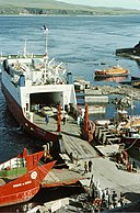 Sound of Jura ferry unloads cars from Kennacraig (geograph 2230850).jpg
