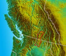 Mapo montranta la lokon de Okanagan Highland