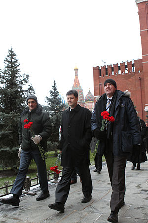 Soyuz TMA-03M - The Soyuz TMA-03M crew members conduct their ceremonial tour of Red Square on 1 December 2011.
