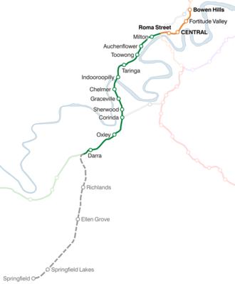Springfield railway line - Image: Springfield railway line map