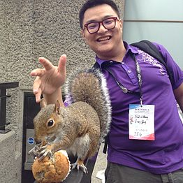 Squirrel and Wikipedian on Terrace of Barbican Center-2.jpg