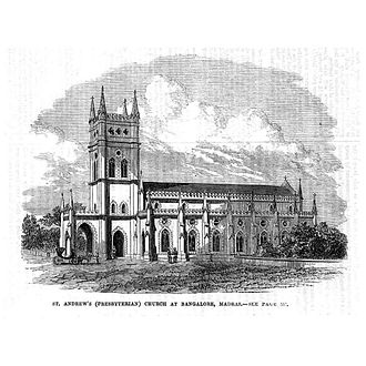 St. Andrew's Church, Bangalore - St. Andrew's (Presbyterian) Church at Bangalore, Madras Presidency - Illustrated London News (1866)