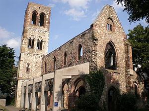 St. Christoph's Church, Mainz - The ruins of St. Christoph at Mainz. World War II memorial and a symbol of the destroyed Mainz, Parish Church of Johannes Gutenberg
