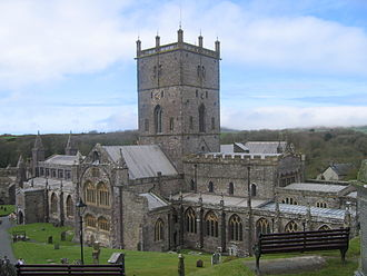 Saint David - St David's Cathedral, current day, restored to its 1181 appearance. (St Davids, Pembrokeshire)