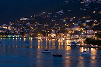 Charlotte Amalie, U.S. Virgin Islands - Charlotte Amalie harbor at night