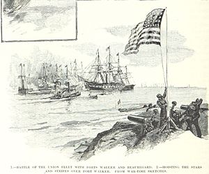Battle of Port Royal - Union troops raise the Stars and Stripes over Fort Walker