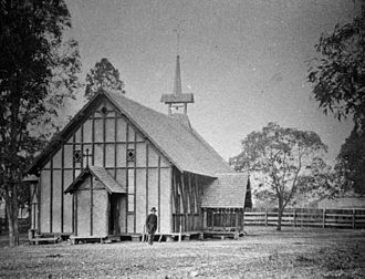 Alfred Lutwyche - Early wooden St Andrew's Church at Lutwyche, 1888