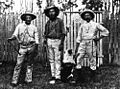 StateLibQld 1 15082 Two Lake Clarendon stockmen with Mr W. Armstrong M.L.A., 1899.jpg