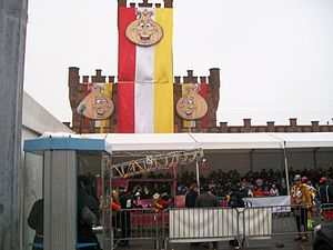 Carnival of Aalst - Aalst railway station during the 2010 carnival