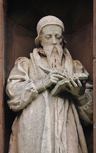 John Davies (Mallwyd) - Statue of John Davies on the Translators' Memorial in the churchyard of St Asaph Cathedral