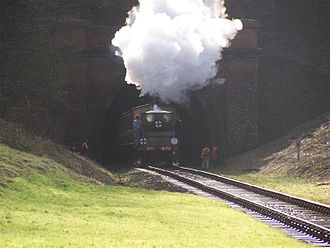West Hoathly railway station - Image: Steam Train exits tunnel