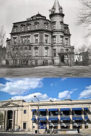 Stewart's Castle - Stewart's Castle and PNC bank branch on the same lot over 100 years later
